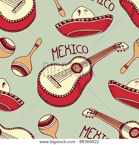 Hand Drawn Mexico Seamless Pattern With Sombrero, Guitar, Maracas