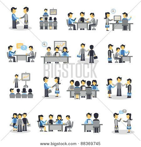 Meeting Icons Flat Set