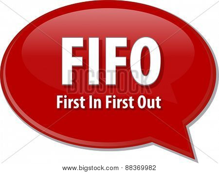 word speech bubble illustration of business acronym term First In First Out