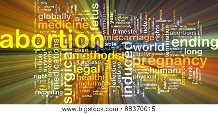 Background text pattern concept wordcloud illustration of pregnancy abortion glowing light