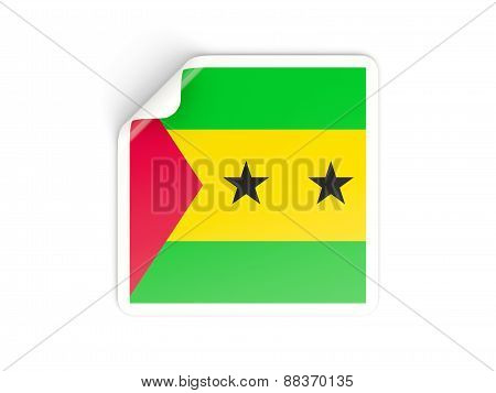 Square Sticker With Flag Of Sao Tome And Principe