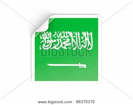 Square Sticker With Flag Of Saudi Arabia