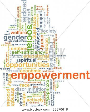 Background text pattern concept wordcloud illustration of empowerment