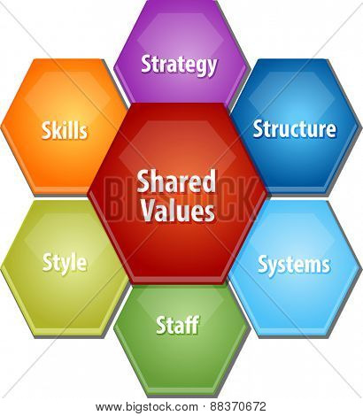 business strategy concept infographic diagram illustration of shared values leadership framework