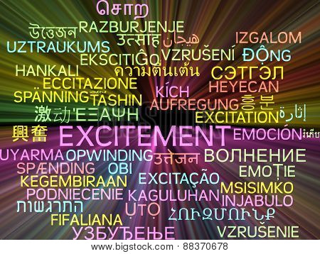 Background concept wordcloud multilanguage international many language illustration of excitement glowing light