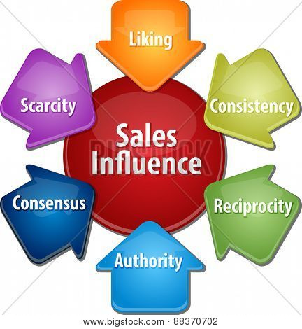 business strategy concept infographic diagram illustration of sales influence sources