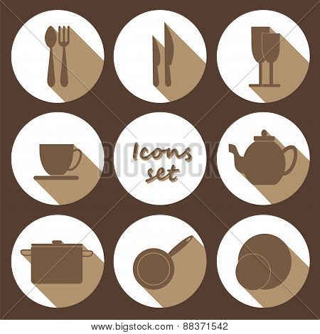 Round Icons Set Of Kitchen Utensil In Flat Design Style - Colored