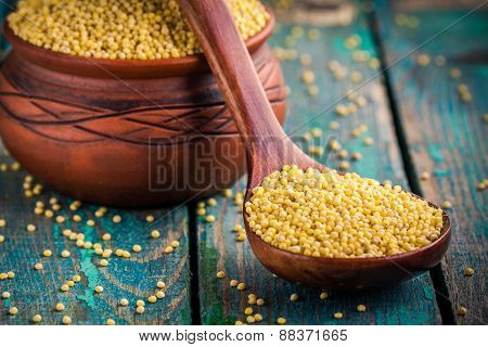 Organic Millet Seeds In A Spoon And A Ceramic Bowl Closeup