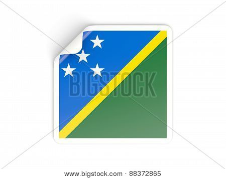 Square Sticker With Flag Of Solomon Islands