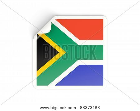 Square Sticker With Flag Of South Africa