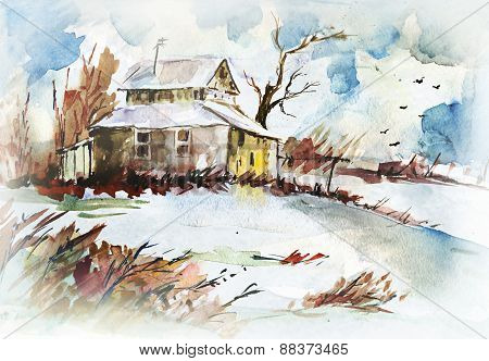 Aquarelle Drawing Of Country Landscape