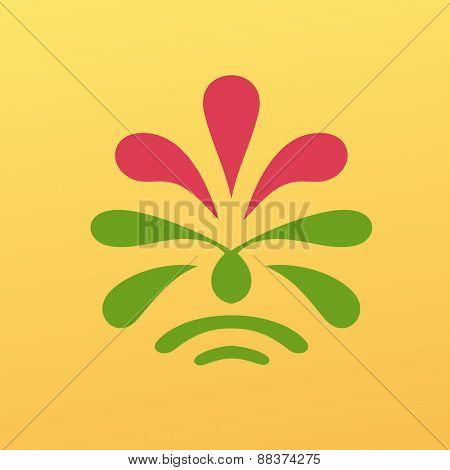 Vintage yellow floral emblem design