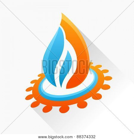 logo symbol fire with gear. Blue and orange flame glass icon with long shadow isolated