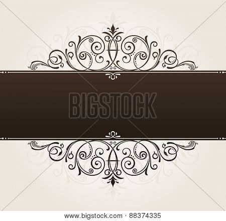 place template for text. vintage frame decorated with antique ornaments black