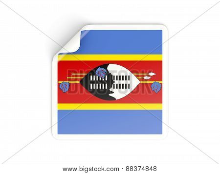 Square Sticker With Flag Of Swaziland