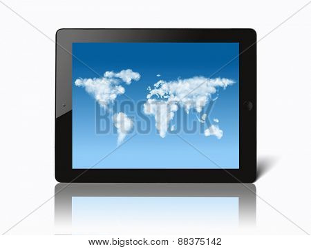 ipad with world map made of clouds on screen isolated on white background