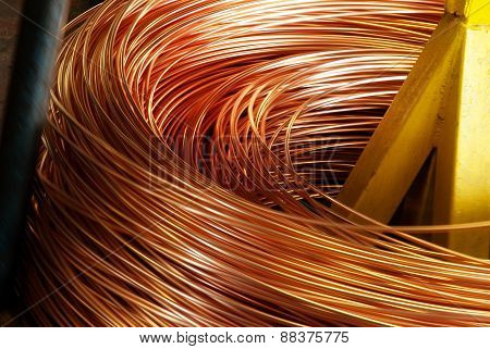 Closeup of Copper Cable being Rolled up