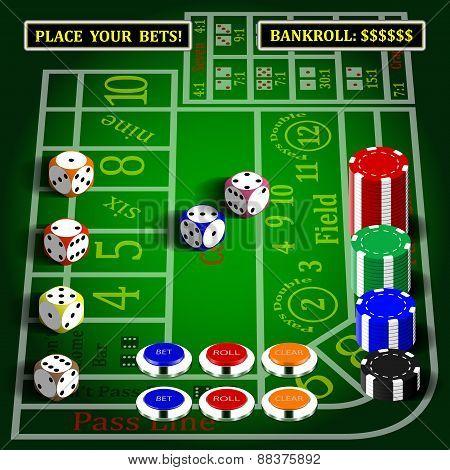 Casino dice game set.