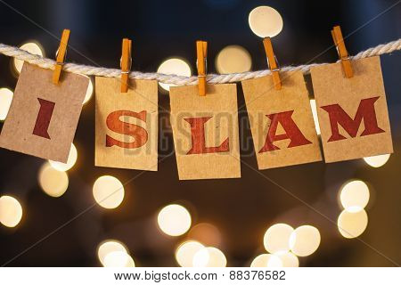Islam Concept Clipped Cards And Lights