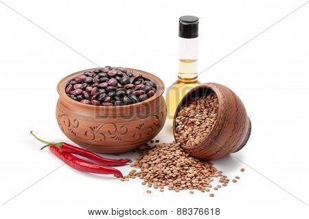 Clay Pots Legumes Olive Oil Hot Pepper