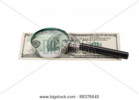 Hundred Dollars And Magnifying Glass