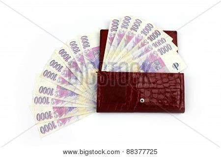 Czech Money In Red Wallet - Thousand