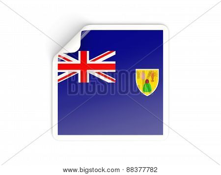 Square Sticker With Flag Of Turks And Caicos Islands