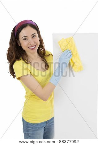 Cleaning Lady With A Blank Billboard