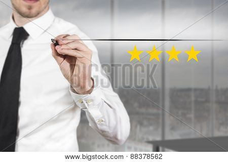 Businessman Pushing Flat Button Four Golden Rating Stars