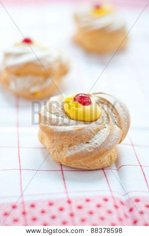 Zeppole san giuseppe typical sweet Italian naples with flour and eggs