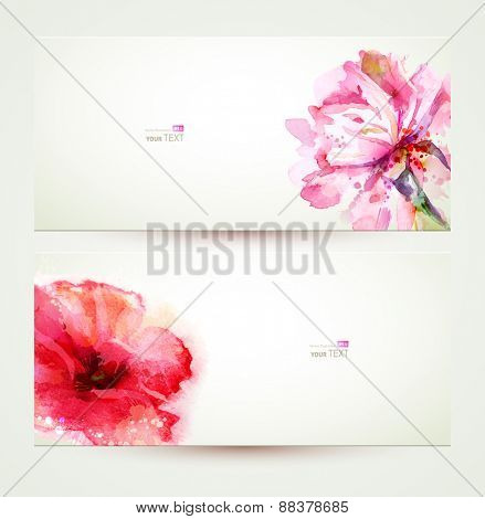 Two banners of flowering pink peony and poppy.