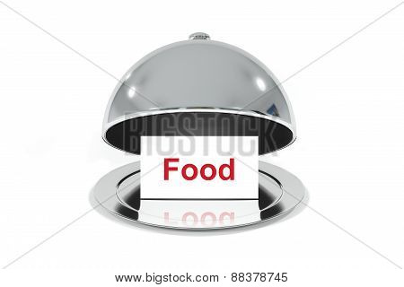 Opened Silver Cloche With White Sign Food