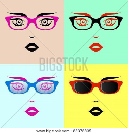 Woman Faces With Glasses