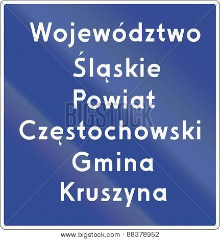 Voivodeship Border Sign In Poland