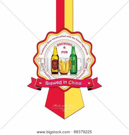 Brewed in China - Beer sticker advertising