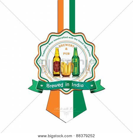 Brewed in India - Beer sticker advertising