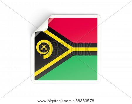 Square Sticker With Flag Of Vanuatu