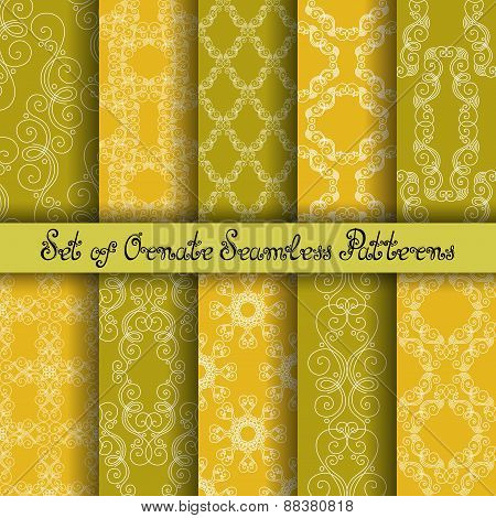 Vector Set Of 10 Ornate Seamless Patterns