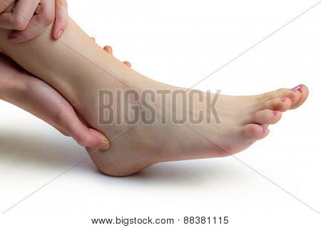 Woman with ankle injury on white background