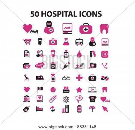 50 hospital icons set, vector