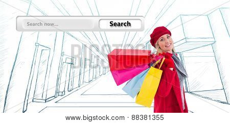 Blonde in winter clothes holding shopping bags against search engine
