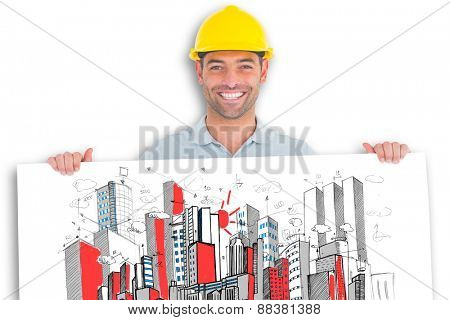 Happy handyman holding placard on white background against crumpled white page