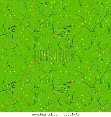 Seamless green pattern with thin stems and flowers