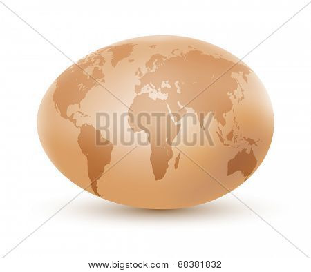 World map on an egg. illustration.