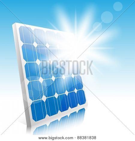 Sun and solar panels. Illustration.