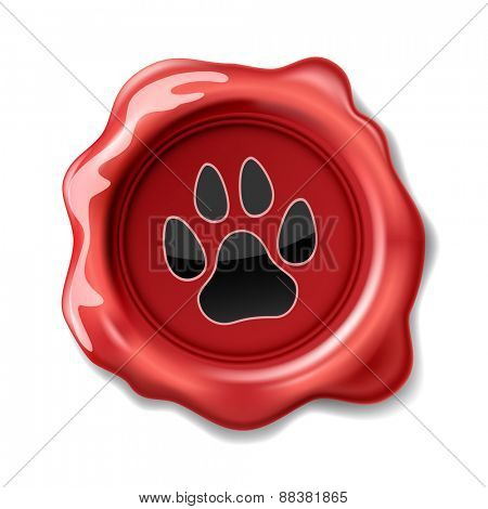 Animal Paw Print on the Wax Seal. Icon. Illustration.