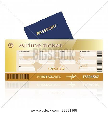 Airline ticket and passport isolated on white background. Illustration.