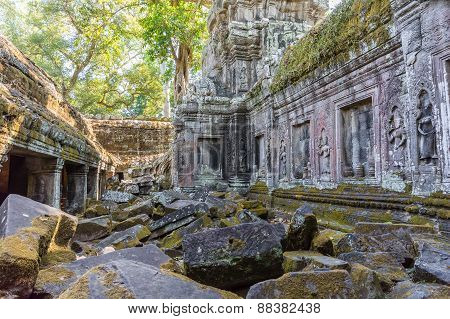 Ancient Ruins Of Angkor Wat Temple In Siem Reap, Cambodia. It Has Khmer Cultural Architechture Desig