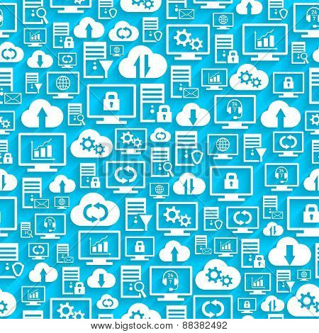 Seamless pattern with hosting cloud icons