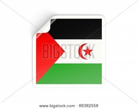 Square Sticker With Flag Of Western Sahara